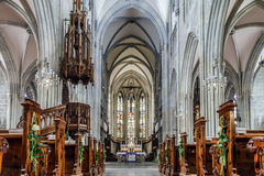 Majestic gothic cathedral interior. Royalty Free Stock Photography