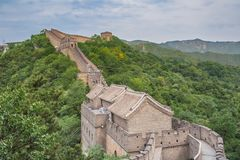 The majestic Great Wall, Beijing, China. Famous landmark great wall and mountains. China Royalty Free Stock Photography