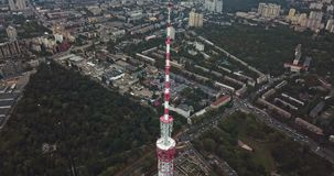 Cityscape with TV tower. Majestic green cityscape with the TV Tower in Kyiv in Ukraine. Aerial video recording stock video