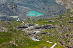 Majestic heart-shaped mountain lake in Kyrgyzstan Stock Photography