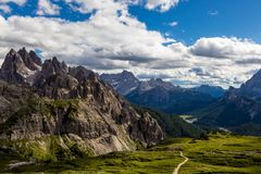 Majestic high mountain view of Dolomites mountain when hiking aroud Tre Cime trail, Italy. Majestic high mountain view of Dolomites mountain when hiking aroud royalty free stock photos