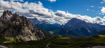 Majestic high mountain view of Dolomites mountain when hiking around Tre Cime trail, Italy. Majestic high mountain view of Dolomites mountain when hiking around royalty free stock image