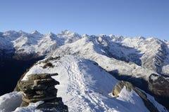 Majestic high mountain winter scene Stock Photo