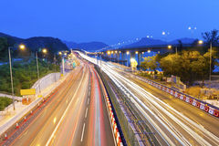 Majestic highway traffic in Hong Kong at night Stock Photos