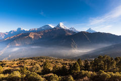 The majestic of Himalayan mountain range during sunrise Royalty Free Stock Images
