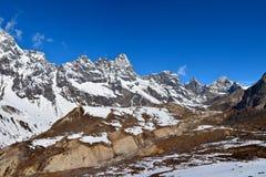 Majestic Himalayan mountain ridge on the way to Everest basecamp Stock Image