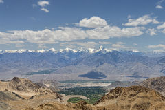Majestic Himalayan peaks and green oasis valley Royalty Free Stock Photo