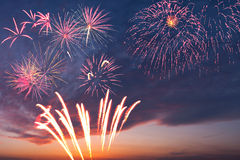 Majestic holiday fireworks Stock Images