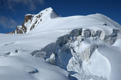 Majestic ice-fall in high mountains. Tien-Shan Royalty Free Stock Images