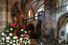 Majestic interior of Abbey-church of Saint Peter and Saint Paul Stock Images