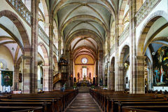 Majestic interior of Abbey-church of Saint Peter and Saint Paul Stock Image