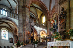 Majestic interior of Abbey-church of Saint Peter and Saint Paul Stock Photos