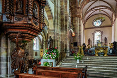 Majestic interior of Abbey-church of Saint Peter and Saint Paul Royalty Free Stock Image