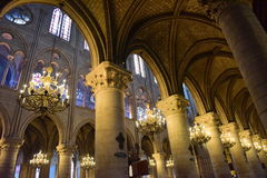 Majestic interior of the famous Notre Dame de Paris Cathedral in Paris Royalty Free Stock Photo