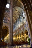 Majestic interior of the famous Notre Dame de Paris Cathedral Stock Images