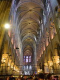 Majestic interior of the famous Notre Dame de Paris Cathedral Royalty Free Stock Photography