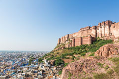 Majestic Jodhpur. Mehrangarh Fort overlooking the famous blue city  in Jodhpur, Rajasthan, India Stock Images