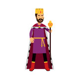 Majestic king in gold crown standing and holding scepter, fairytale or medieval character, colorful  Illustration. On a white background Royalty Free Stock Photography
