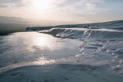 Majestic landscape with famous white rocks and water. In pamukkale, turkey royalty free stock images