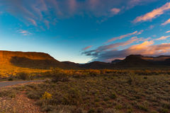 Majestic landscape at Karoo National Park, South Africa. Scenic table mountains, canyons and cliffs at sunset. Adventure and explo Royalty Free Stock Photo