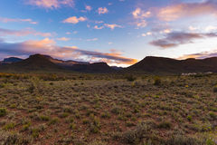 Majestic landscape at Karoo National Park, South Africa. Scenic table mountains, canyons and cliffs at sunset. Adventure and explo Royalty Free Stock Image