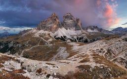 Majestic landscape mountain with Tre Cime peak before sunrise. Royalty Free Stock Photo