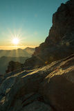 The majestic landscape. View from Mount Sinai at dawn. Photographer at work. Egypt Stock Image