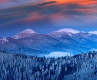Majestic landscape in the winter mountains at sunrise. royalty free stock photo