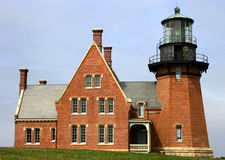 Majestic Lighthouse. Southeast Lighthouse, Block Island.  New England lighthouse Stock Photography