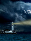 Majestic lighthouse. Night scene with lighthouse stock images
