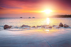 Majestic luxury beach and wonderful sunset near Rovinj, Istria, Croatia Stock Images