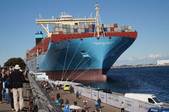 Container ship at quay. Worlds largest container ship, Majestic Maersk at quay Langelinie Stock Image
