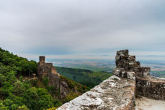 Majestic medieval castle Girsberg ruins on the top of the hill Royalty Free Stock Images