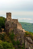 Majestic medieval castle Girsberg ruins on the top of the hill Stock Photos