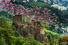 Majestic medieval castle Girsberg ruins on the top of the hill Royalty Free Stock Photo