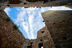 Majestic medieval castle ruins on the top of the hill Royalty Free Stock Images