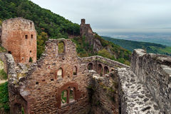 Majestic medieval castle  Saint-Ulrich on the top of the hill Stock Photos