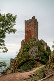 Majestic medieval castle  Saint-Ulrich on the top of the hill. Alsace, France Stock Photo