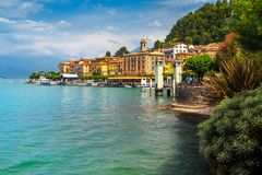 Beautiful town of lake Como with luxury buildings, Bellagio, Italy Royalty Free Stock Photo