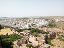 Majestic Mehrangarh Fort and Blue Jodhpur landscape. Rajasthan, is one of the largest forts in India. Built around 1460 by Rao Jodha (Mandore Ruler King Stock Image