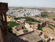 Majestic Mehrangarh Fort and Blue Jodhpur landscape. Rajasthan, is one of the largest forts in India. Built around 1460 by Rao Jodha (Mandore Ruler King Stock Photo