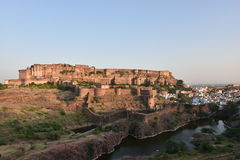 Majestic Mehrangarh Fort located in Jodhpur, Rajasthan, is one of the largest forts in India. Built around 1460 by Rao Jodha (Mandore Ruler King Stock Photos