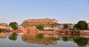 Majestic Mehrangarh Fort located in Jodhpur, Rajasthan, is one of the largest forts in India. Built around 1460 by Rao Jodha (Mandore Ruler King Royalty Free Stock Images