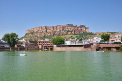Majestic Mehrangarh Fort located in Jodhpur, Rajasthan, is one of the largest forts in India. Built around 1460 by Rao Jodha (Mandore Ruler King Stock Photo