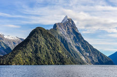 Majestic Mitre Peak in the Milford Sound, New Zealand Stock Photo