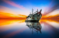 Majestic morning with ghost ship Stock Photography