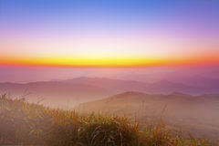 Majestic morning mountain landscape with colorful sky Stock Images