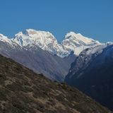 Majestic mountain in the Annapurna Conservation Area Royalty Free Stock Image