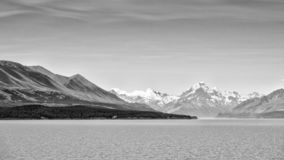 Black and white image of Mount Cook, New Zealand royalty free stock photos