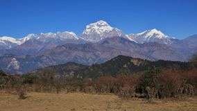 Majestic mountain Dhaulagiri. Dhaulagiri range on a autumn day. View from a place near Poon Hill stock image